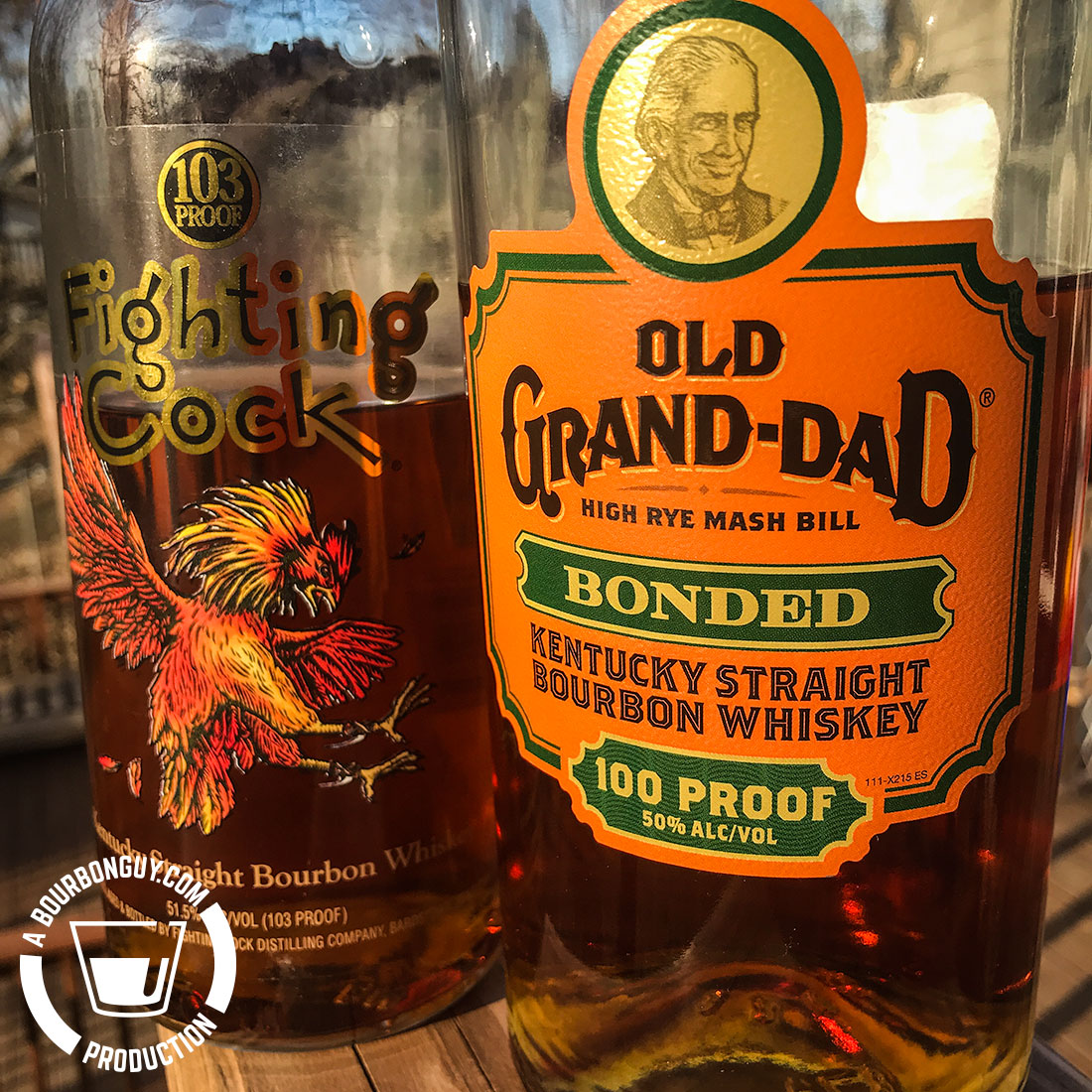 IMAGE: the front labels of Old Grand-Dad Bonded and Fighting Cock Bourbons