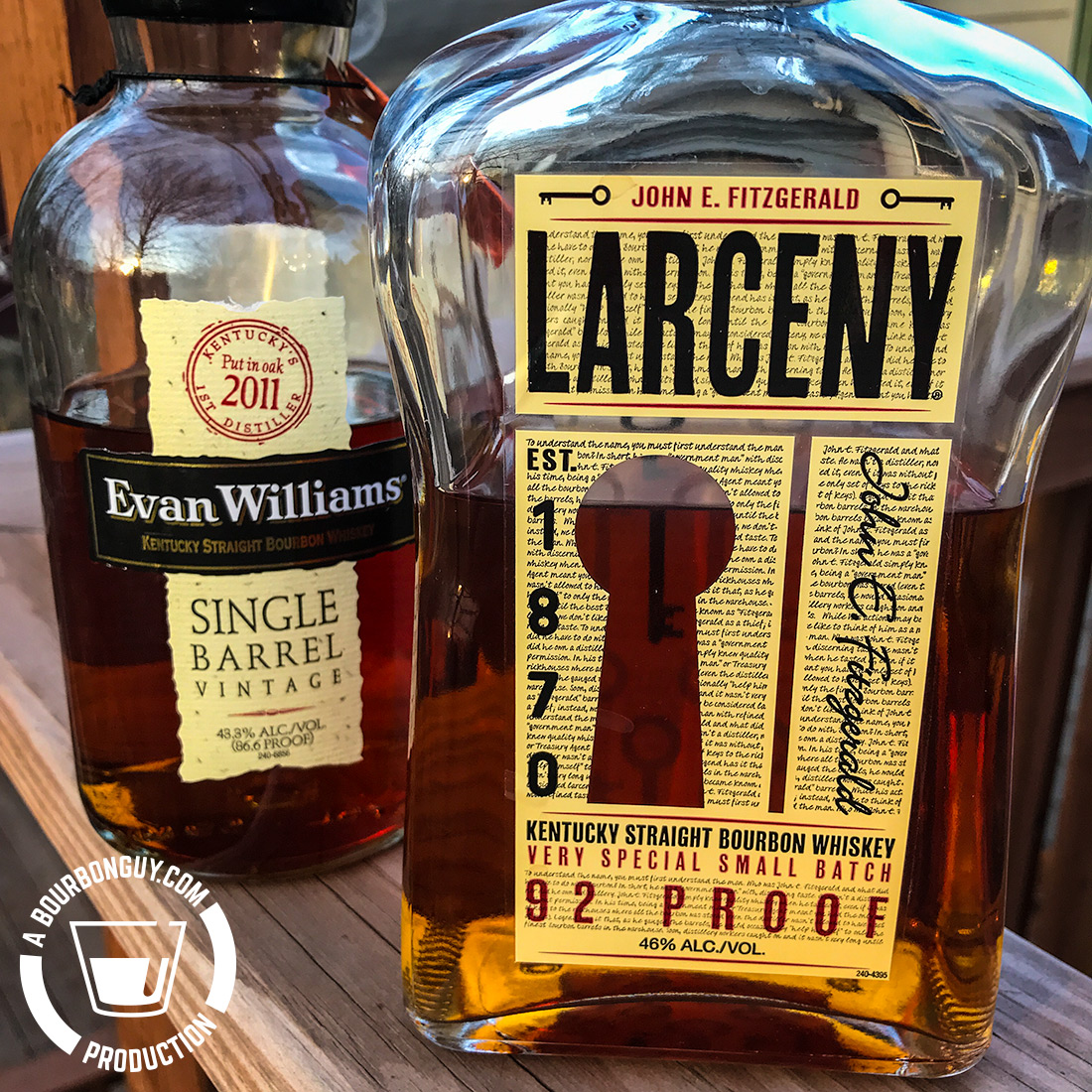 IMAGE: Bottle fronts of Larceny and Evan Williams Single Barrel