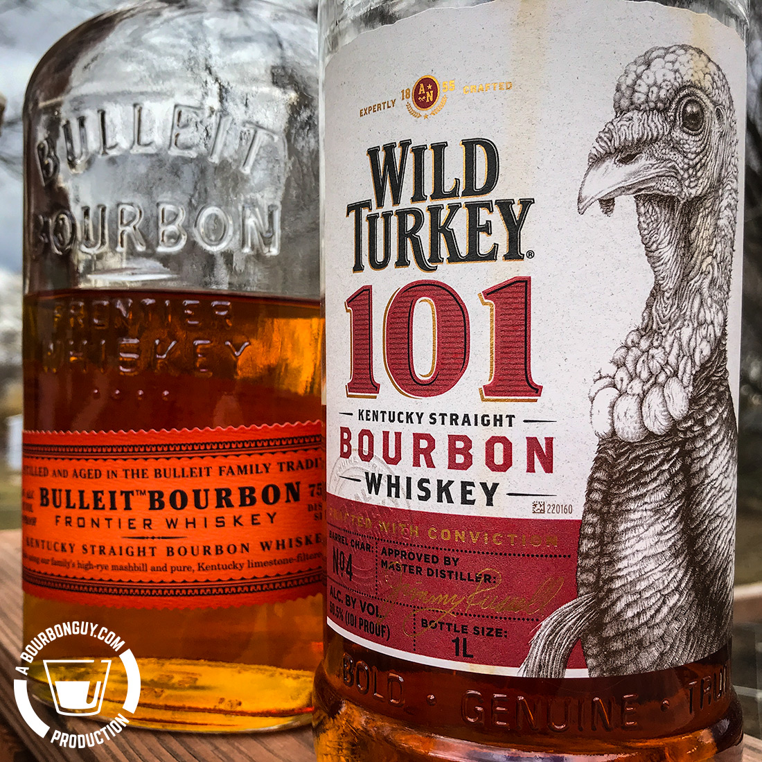 IMAGE: Front labels of Bulleit Bourbon and Wild Turkey 101 Bourbon