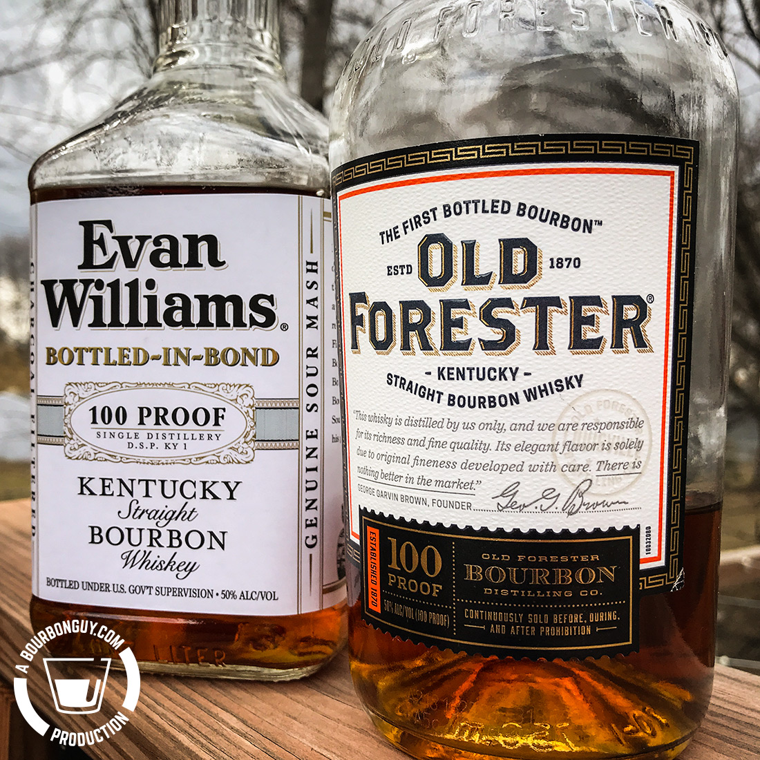 IMAGE: Front labels of Evan Williams Bottled in Bond and Old Forester Signature 100 proof