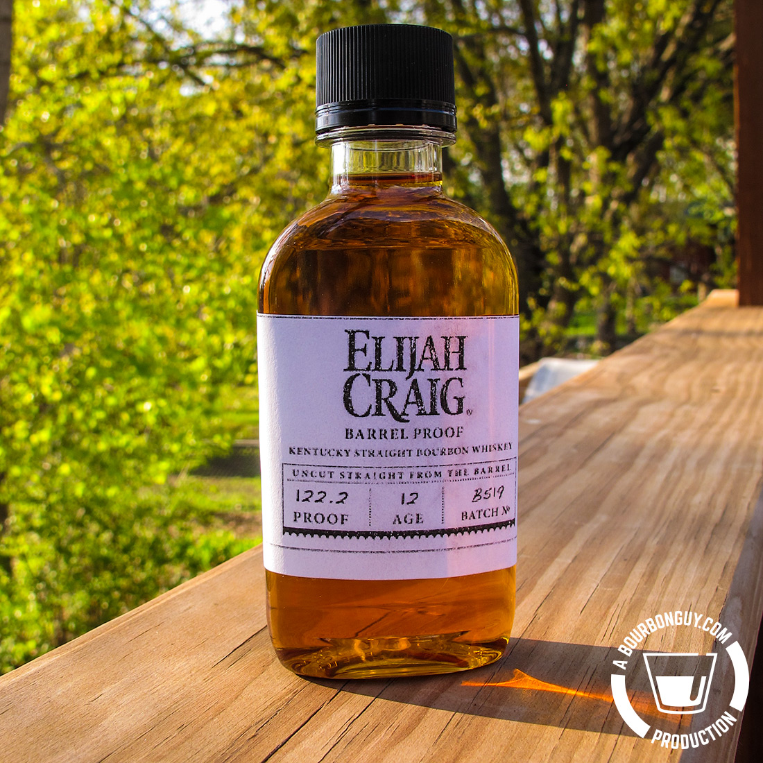 IMAGE: A sample bottle of Elijah Craig Barrel Proof, Batch B519. It is 12 years old and 122.2° proof.
