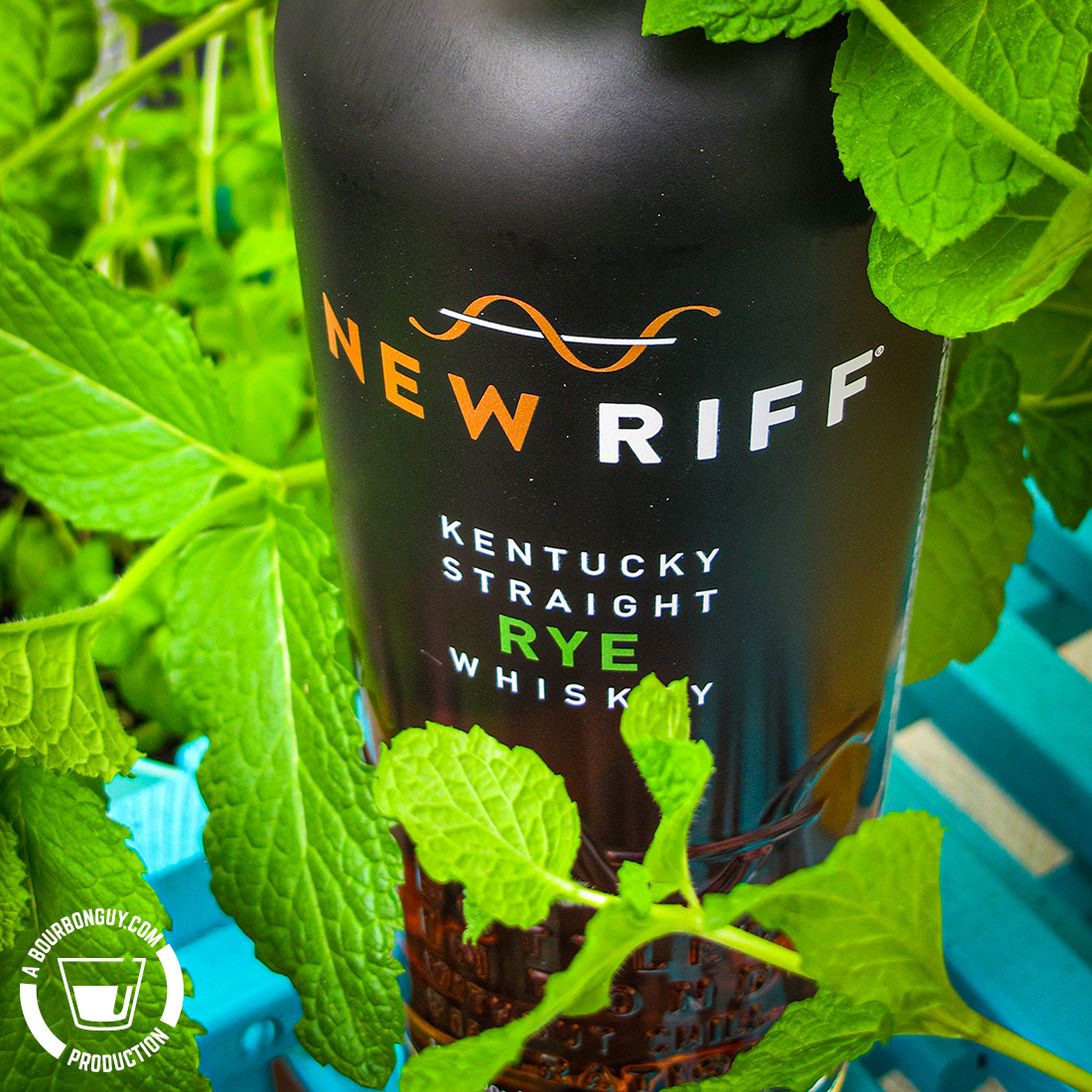IMAGE: A bottle of New Riff Rye hiding in the mint plants