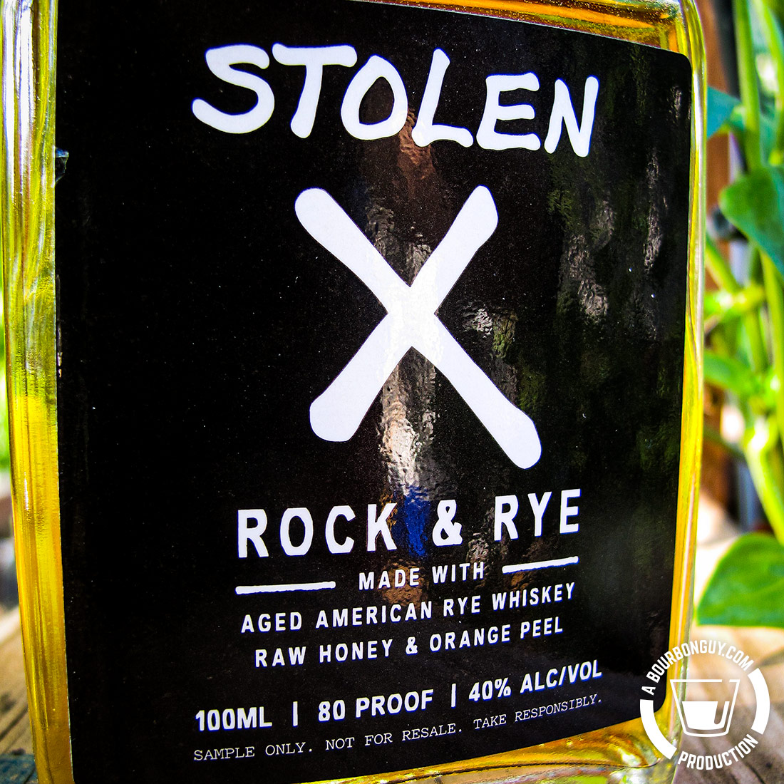 IMAGE: Front label of a sample of Stolen X Rock & Rye.