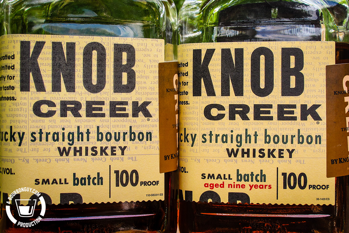 IMAGE: Two bottles of Knob Creek Bourbon. One from 2019 and the other from 2016. 2016 has a nine year old age statement.