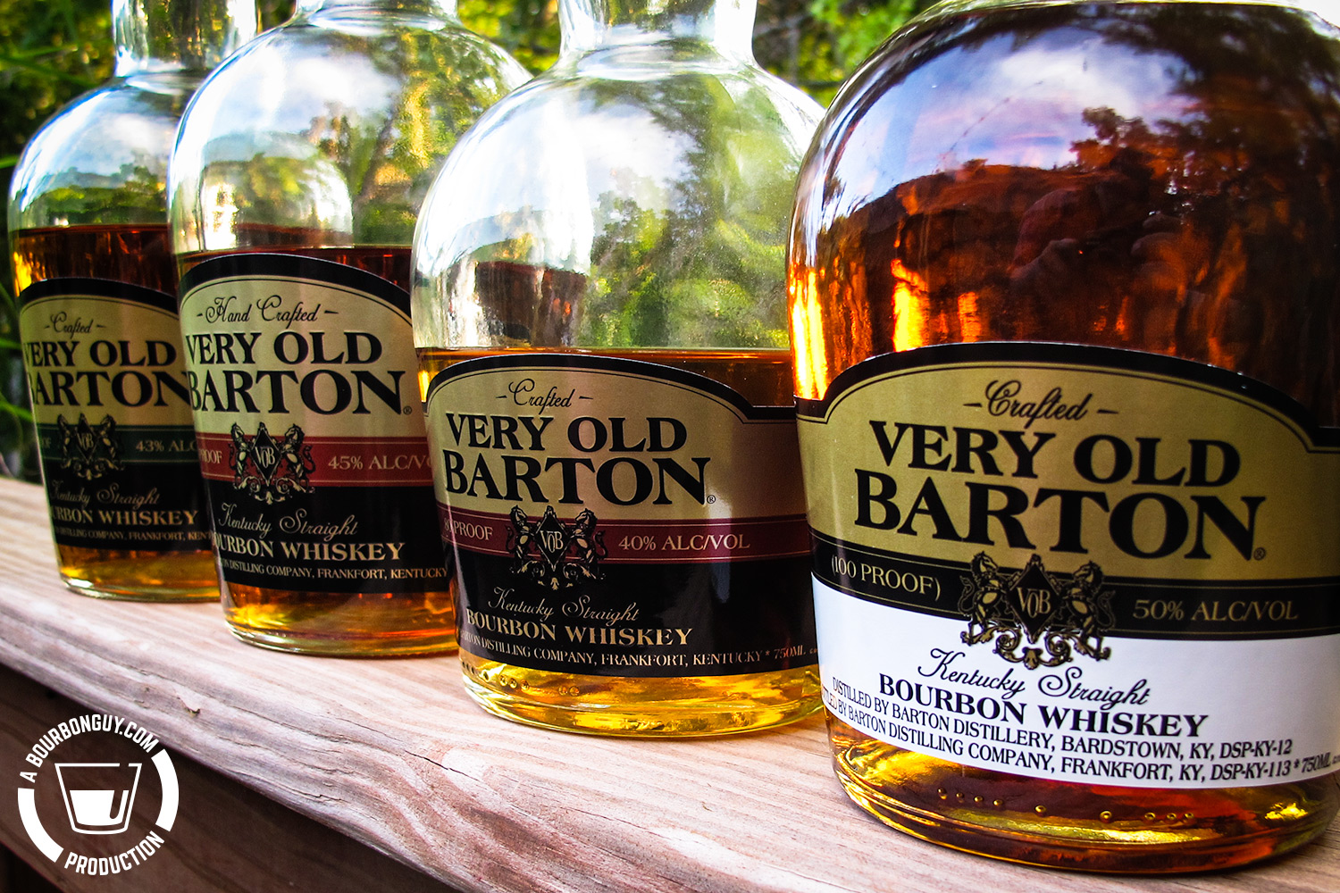 IMAGE: Four Bottles of Very Old Barton. 100 proof, 80 proof, 90 proof and 86 proof.