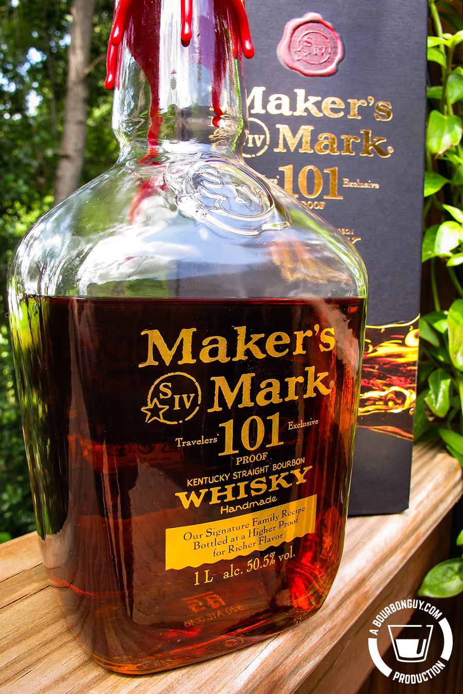 IMAGE: Maker's Mark 101 Proof. Glass bottle, gold painted lettering.