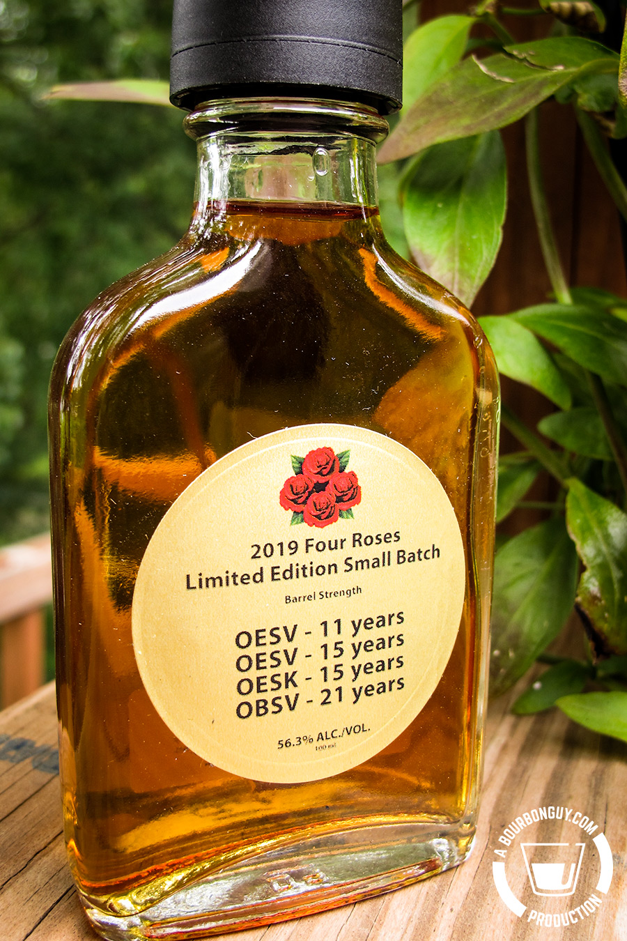 IMAGE: 100 mL sample bottle of the 2019 Four Roses Limited Edition Small Batch. Copy on the label states that it is Barrel Strength and is made up of four bourbons (OESV - 11 year old, OESV - 15 year old, OESK - 15 years old and OBSV - 21 years old.).