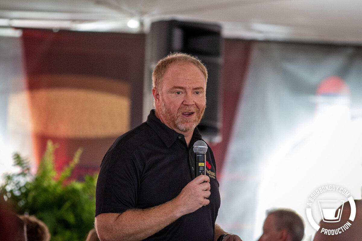 IMAGE: Brent Elliot, Master Distiller of Four Roses giving a talk at Let's Talk Bourbon