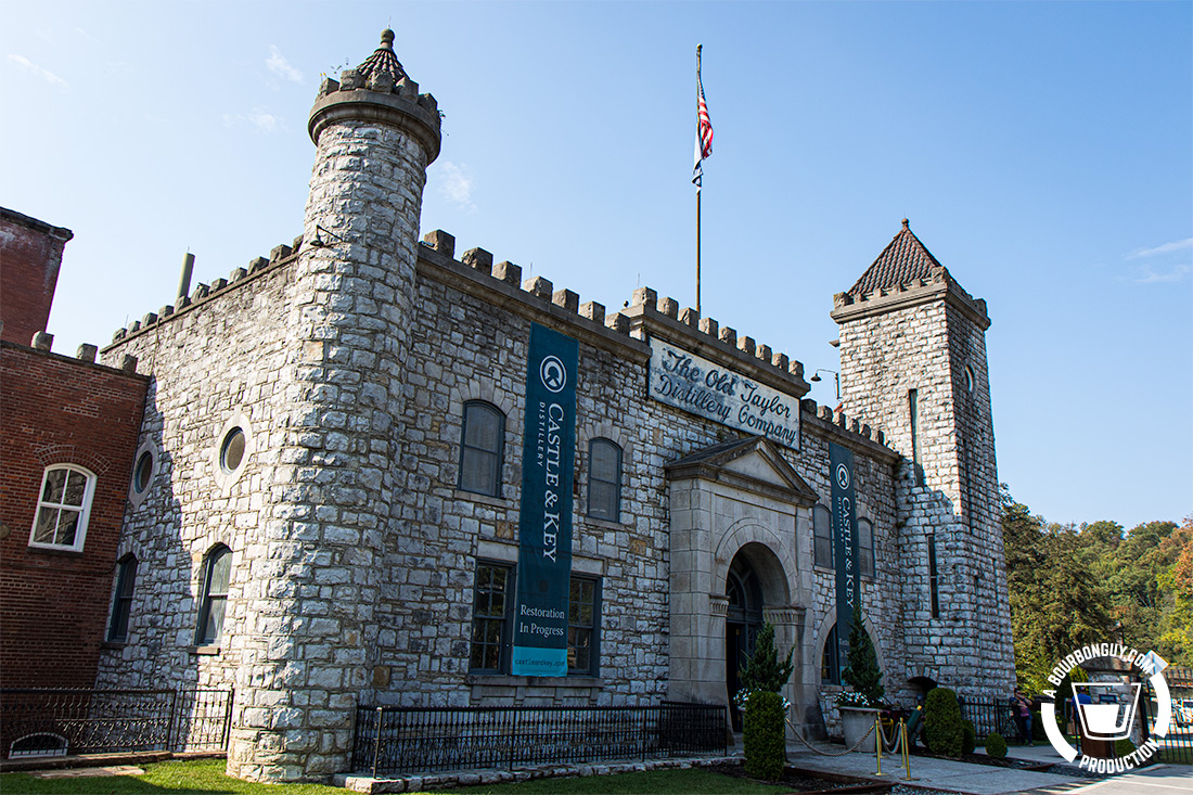 IMAGE: The front facade of the historic Old Taylor Distillery, now home to Castle and Key.