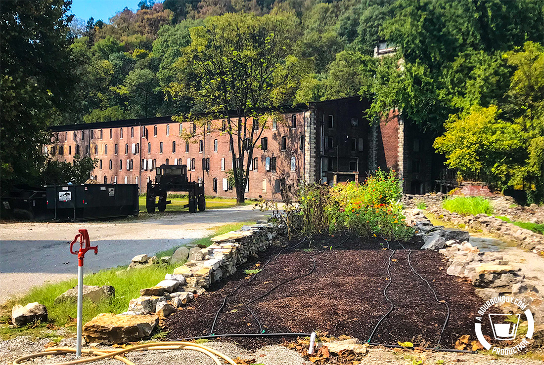 IMAGE: A garden planted in among the foundations of an old ruin on the property. In the distance is one of the original aging warehouses. which is currently full..