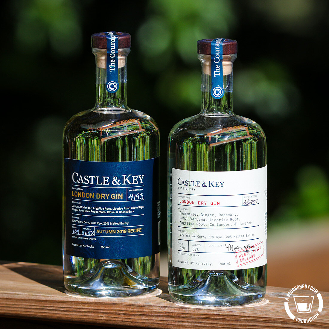 IMAGE: Two bottles of London Dry Gin from Castle and Key distillery in Frankfort, KY.