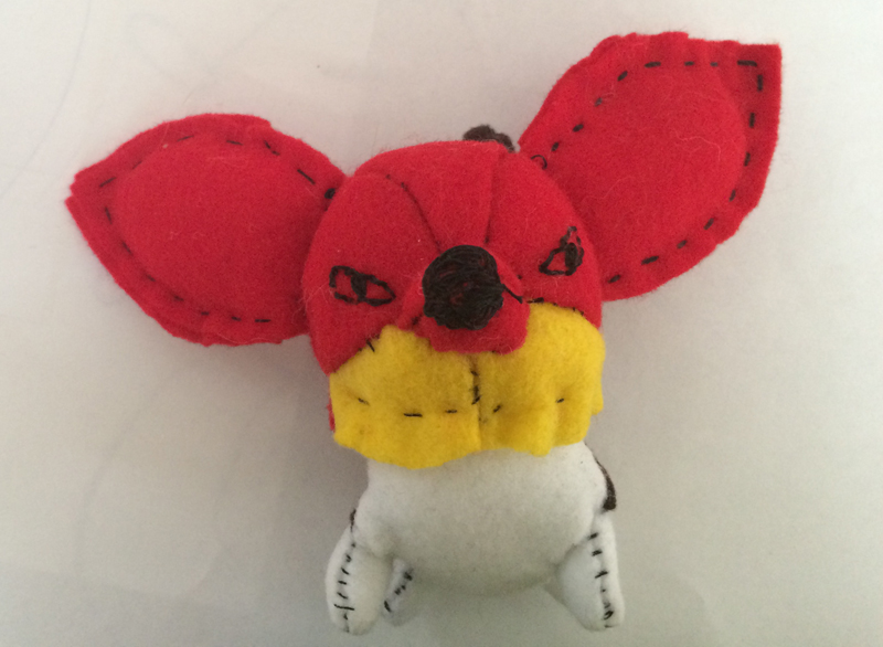 This is my first try. It's made out of different felt scraps that I had. I didn't like the muzzle though.