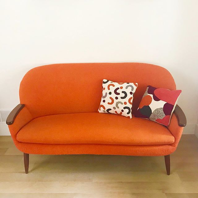 Made some pillows for my little orange couch!