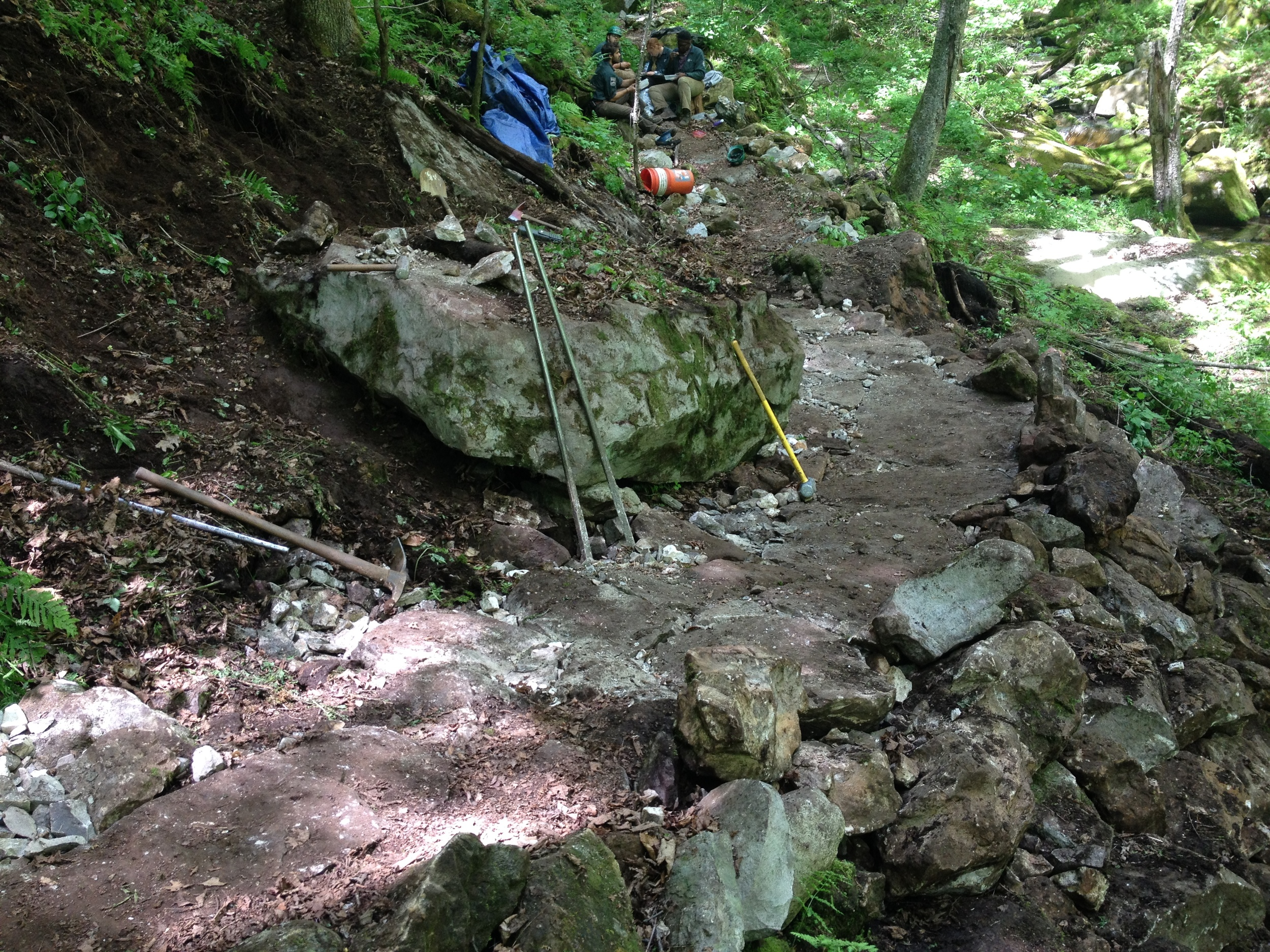 Rock work on Leicester Hollow trail in Green Mountain National Forest.