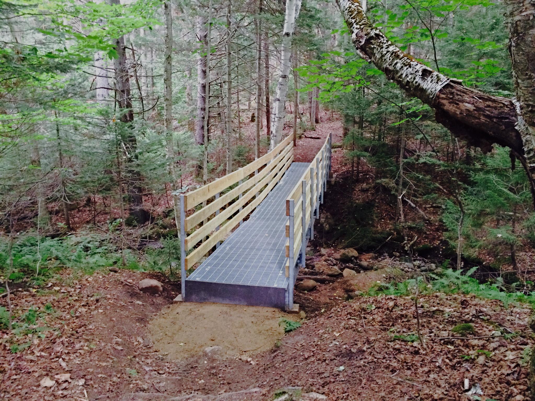 35ft steel bridge on Mount Olga trail in Molly Stark State Park, Vermont.