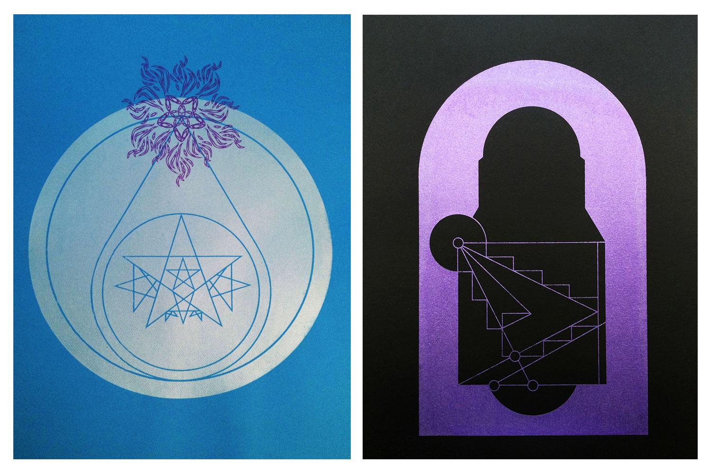 """GUARDIAN XIV • 19"""" x 25"""" • Blue Version •GUARDIAN XX • 9"""" x 12"""" Silkscreen Silkscreen on paper"""
