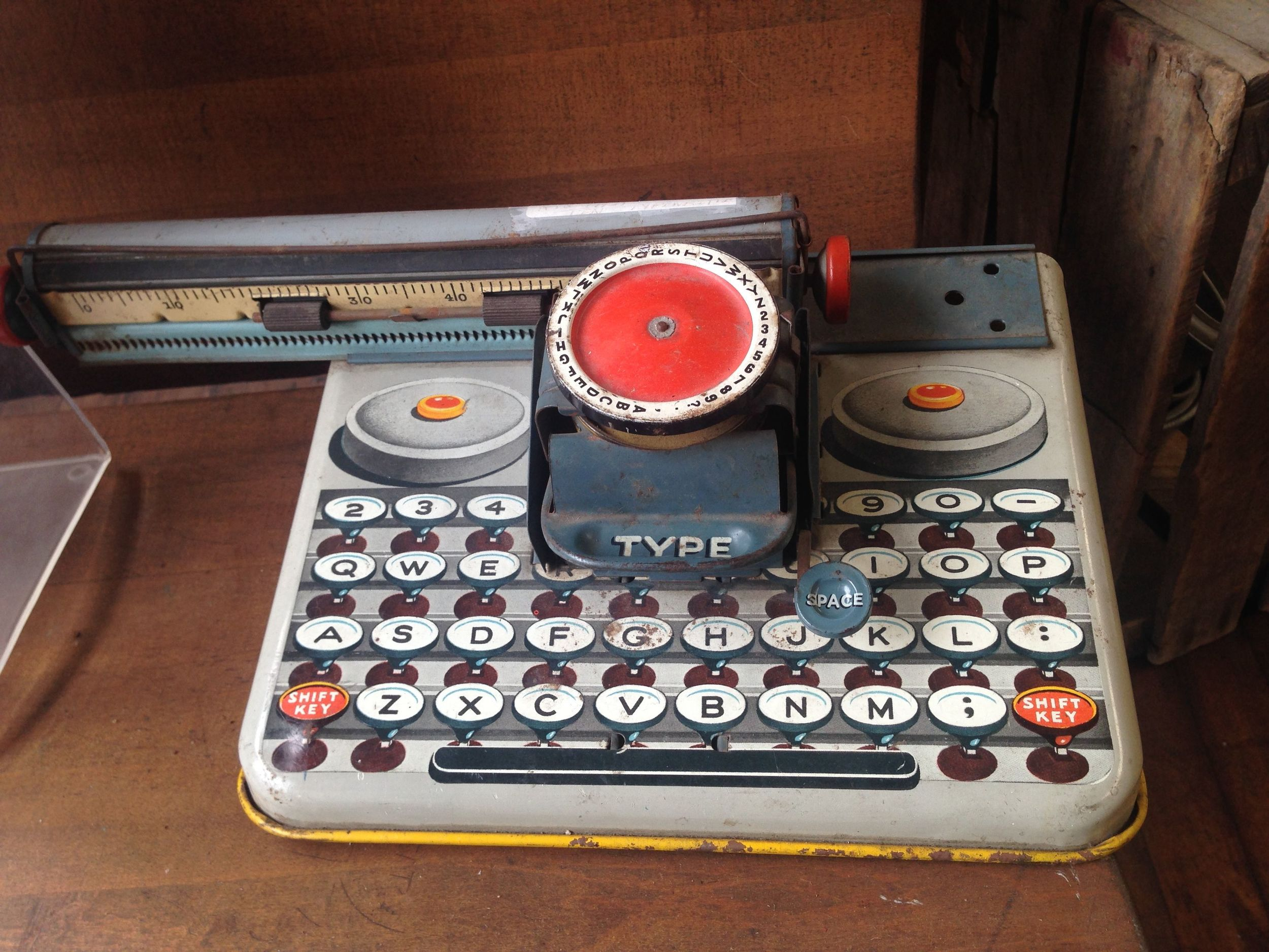 Spotted at an antique store: a strange old toy typewriter