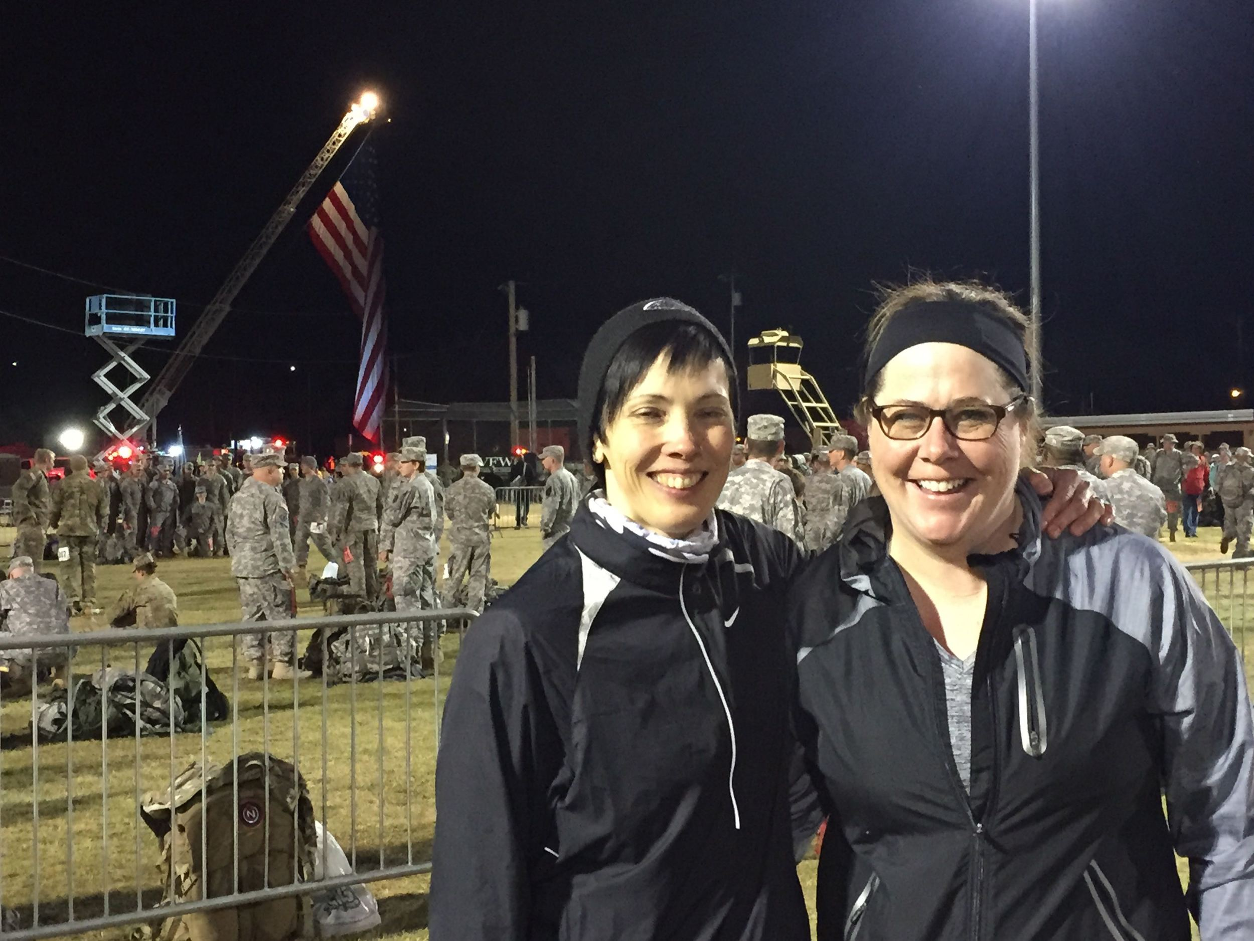 Me and Sue awaiting the opening ceremony. The big flag marks the starting line.
