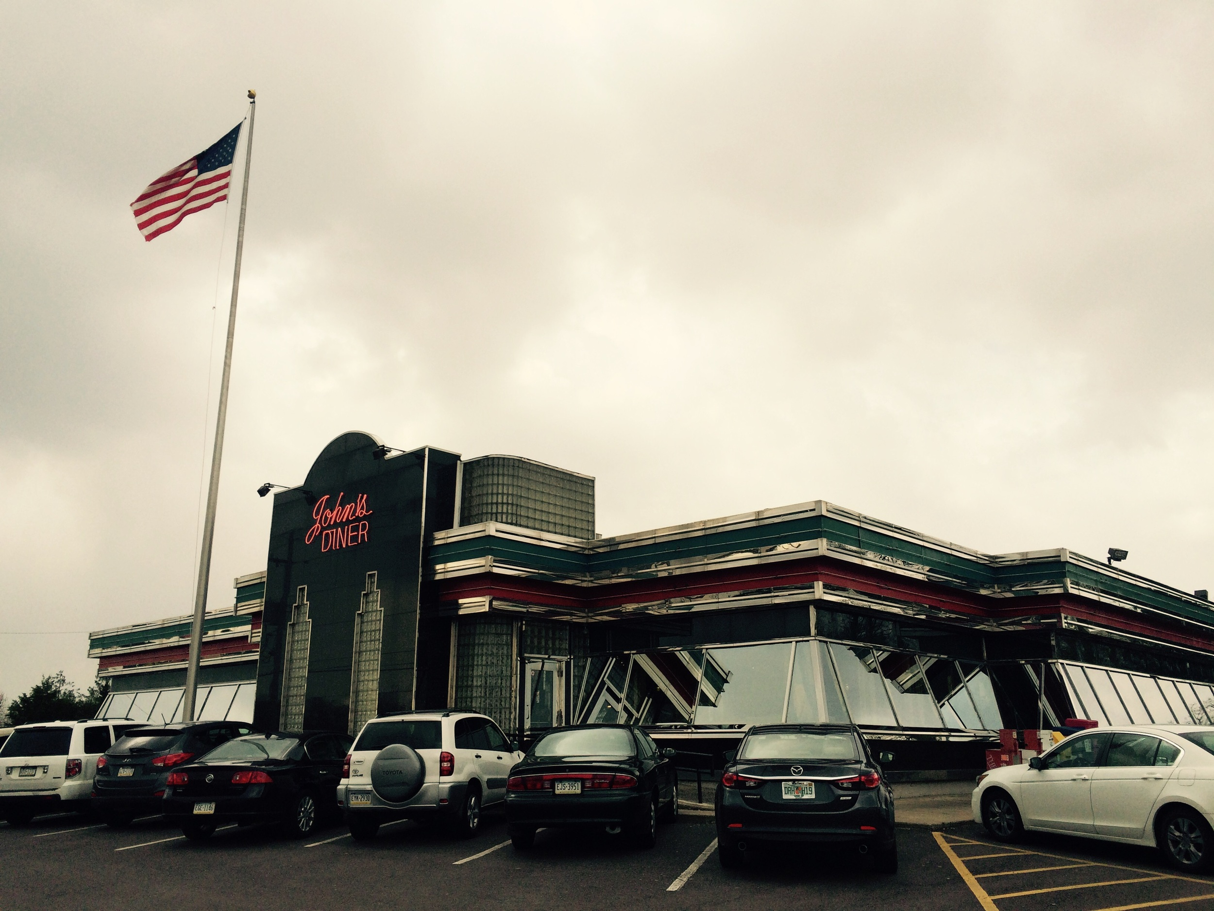 "John's Plain & Fancy Diner, Quakertown PA. We tried ""scrapple"" (a local breakfast meat item) here for the first time. Not bad!"