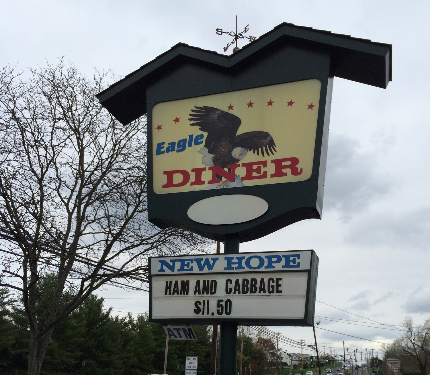 Eagle Diner, Solebury PA. Rather than the ham & cabbage, I had pepper steak over rice.