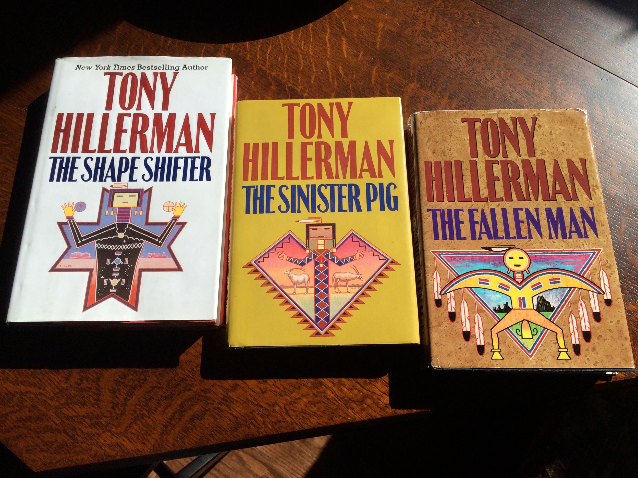 My thrift store loot: a few more Tony Hillerman books to add to my collection. They have the coolest covers!