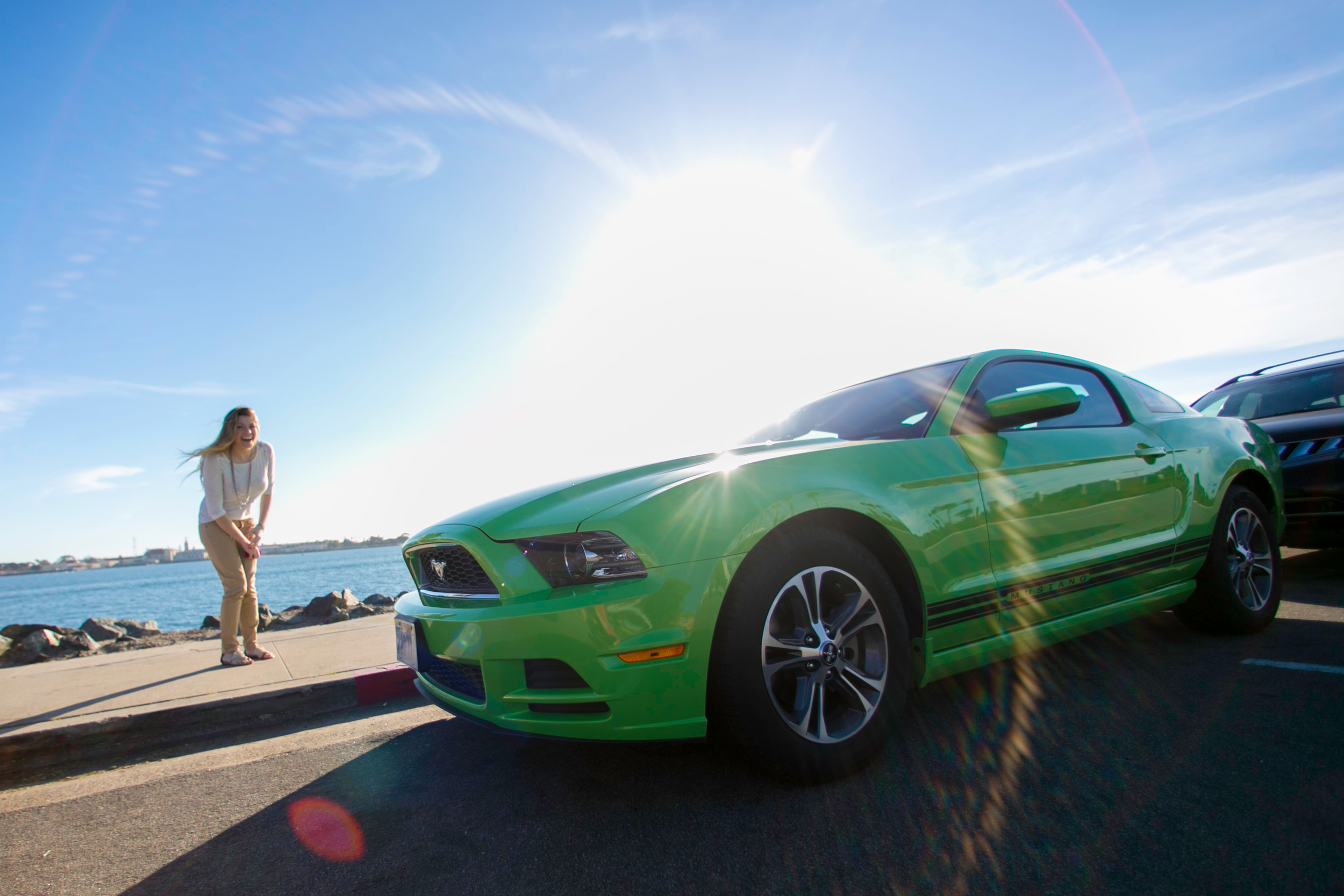 """We ended up with a lime green mustang for the trip – we named her """"green pony"""" and was like a 3rd member of our crew"""