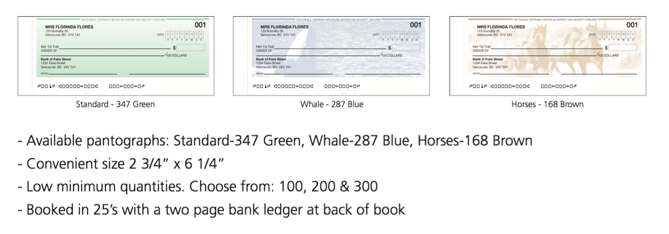 COMPUTER CHEQUES, MANUAL CHEQUES, PERSONAL CHEQUES, DEPOSIT BOOKS.