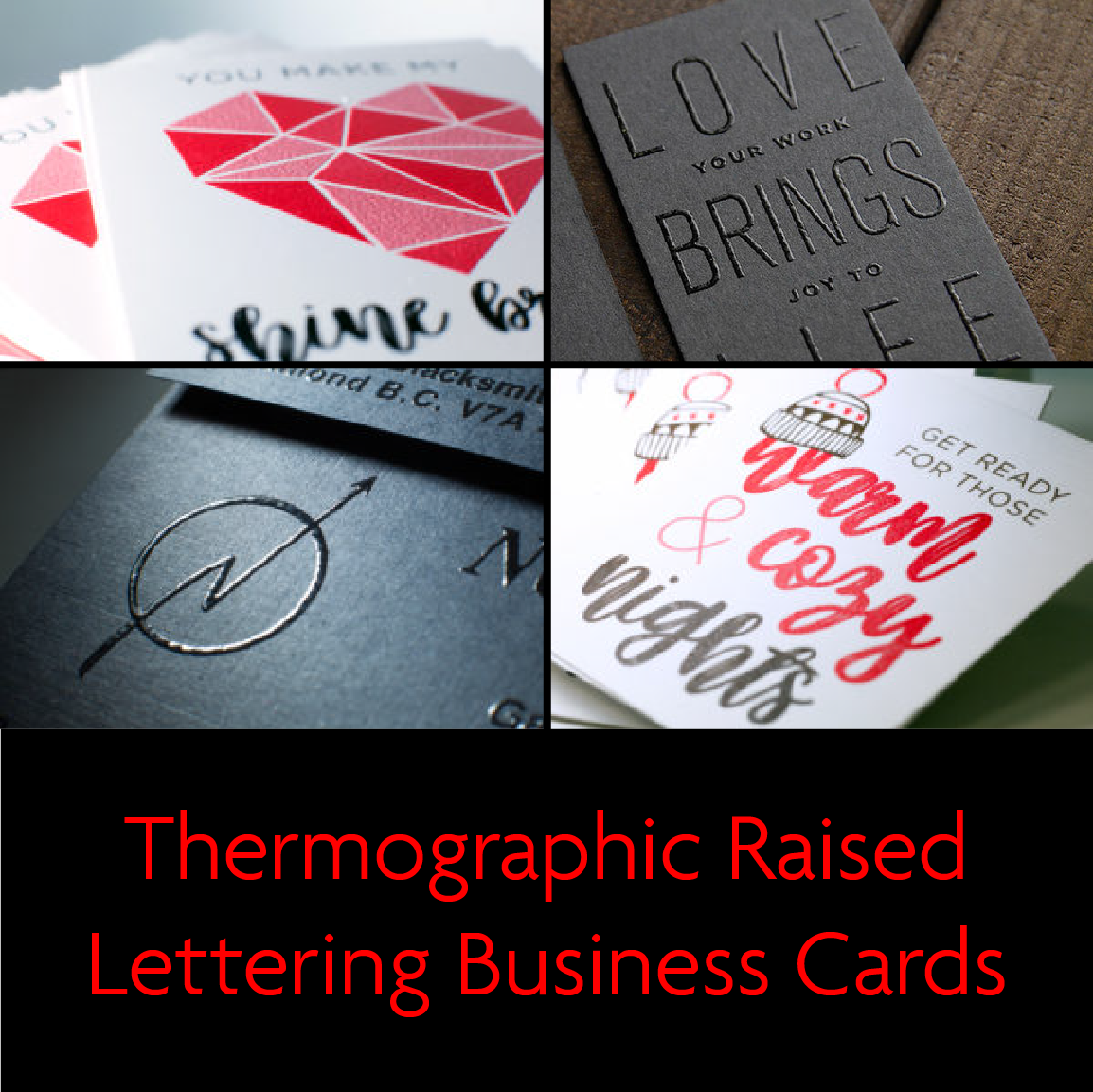 Thermographic Raised Lettering Business Cards