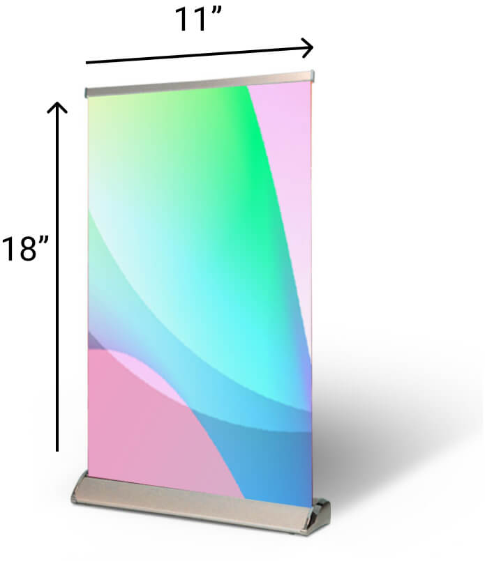 """Table Top Pull Up Banner Size - Size: 11"""" x 18""""These custom table banners are big enough to be the center of attention without taking up too much table space."""