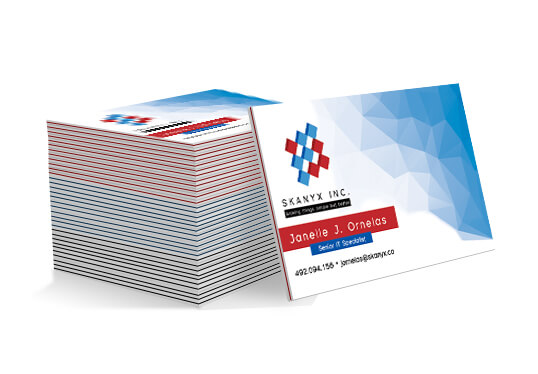 38PT Luxury Business Cards - Multi-3 ply layered cards with a colored layer in the middle and two outer white layers38PT with Coloured Edges (Red, Blue or Black)Available Full color CMYK: 1 sided (4/0), or 2 sided (4/4)Quantities Ranges from 50 to 1,000
