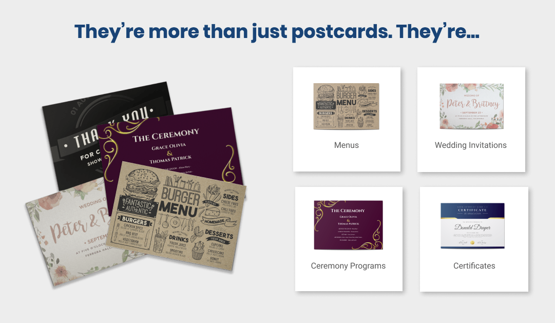They are more than just postcards they are Menus, Wedding Invites, Ceremony Programs, Certificates + More.