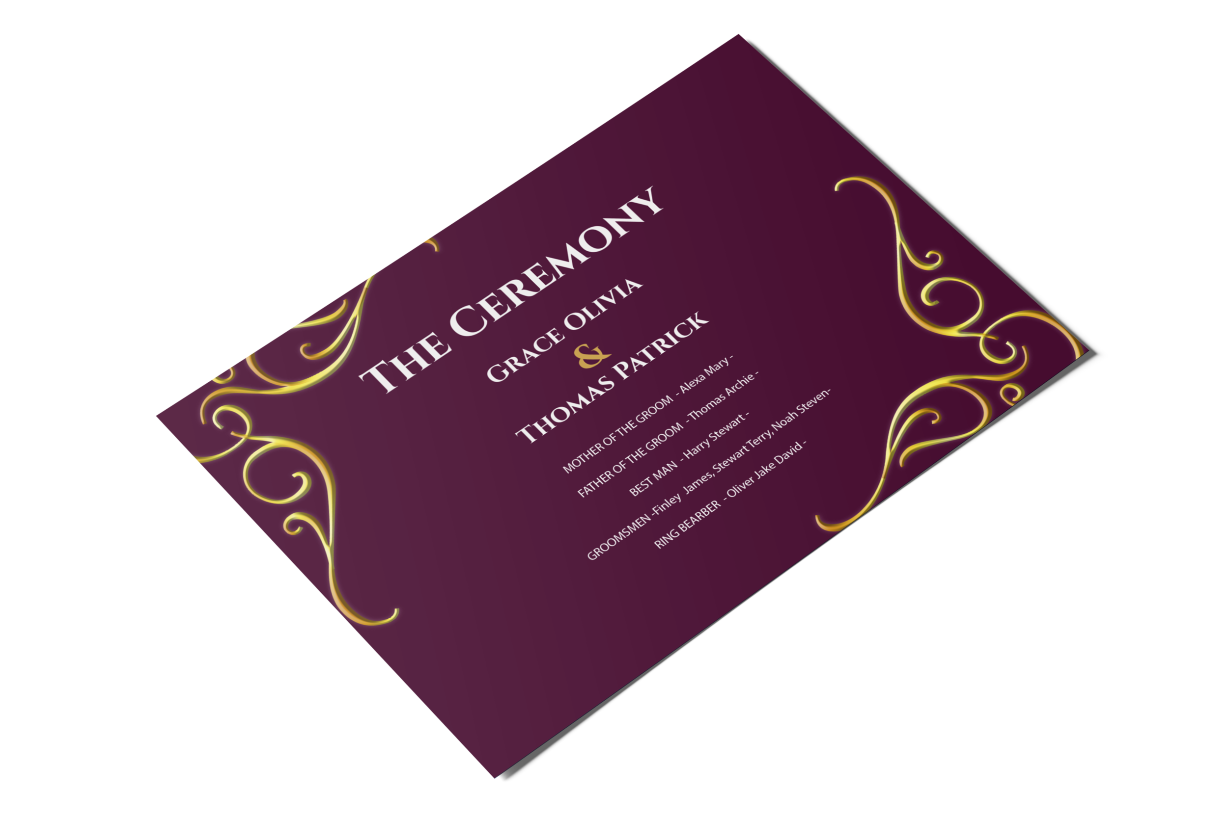 They are more than just postcards they are Ceremony Programs
