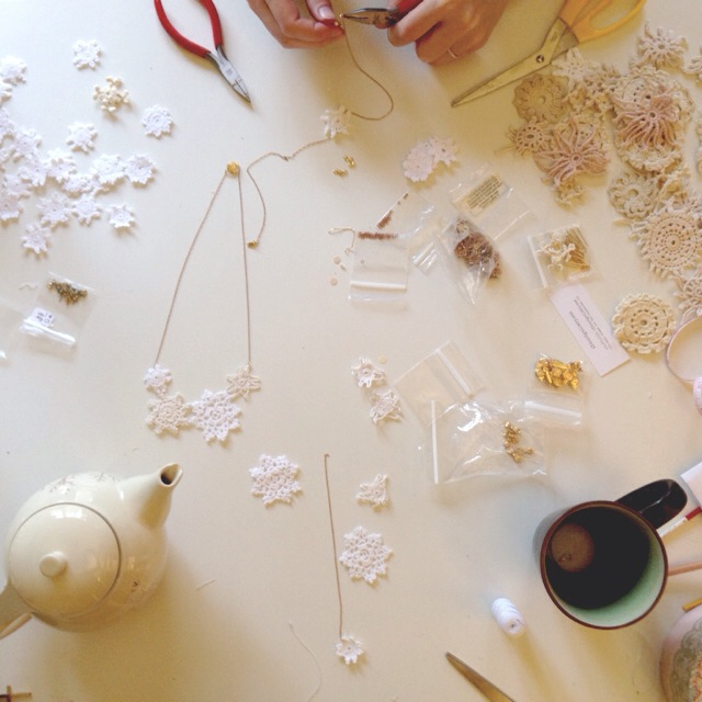 Tea fuelled Sunday Morning making session with the lovely  Samantha . Snowflake necklaces!