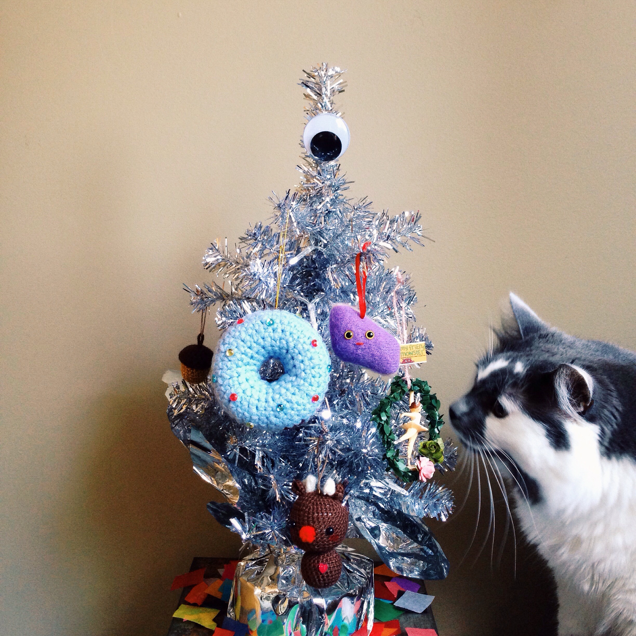 Cat Silver Christmas Tree