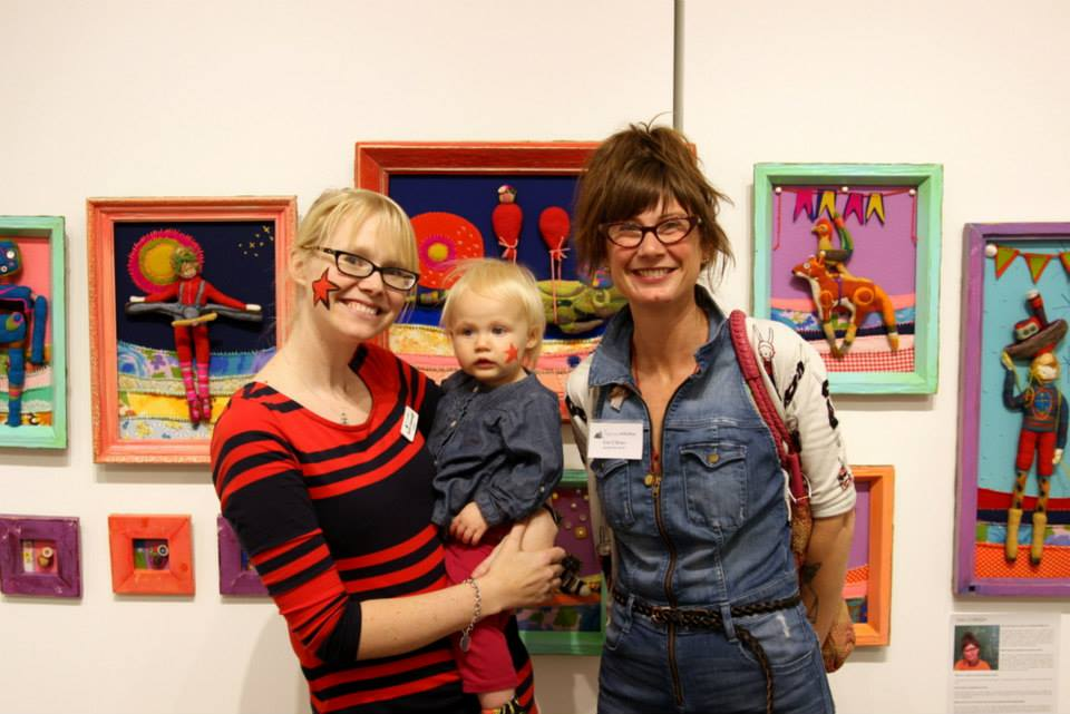Curator/Director Sarah Cavanaugh, her little one and artist  Kim O'Brien . Love the starsand how well Kim matches her work!