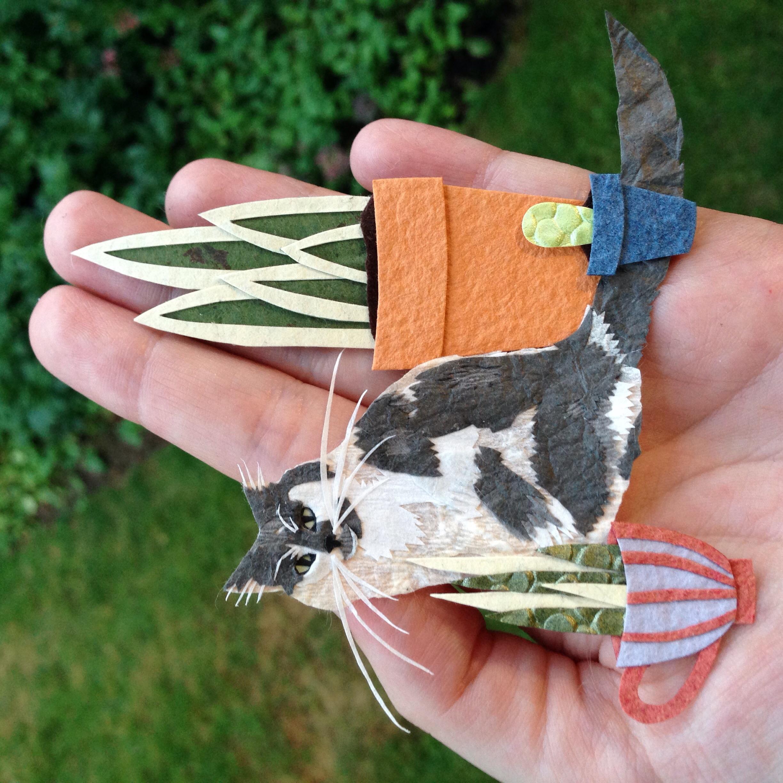 Paper Art Cat Plants Tara Galuska
