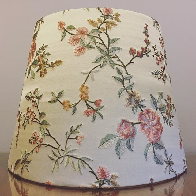 """Custom 16"""" D bottom x 12"""" D top x 12"""" H lampshade for a customer in beautiful floral embroidered silk satin from @redelmanfabricsandwallcovering Tricky fabric to work with, but it looks stunning . . #lampshades #lampshade #customlampshades #lighting #decor #homedecor #design #interiordesign #textiles #handmade #australianmade #custom #silksatin #embroidery #silkshade #redelmanfabrics #redfern #grahamandgraham"""