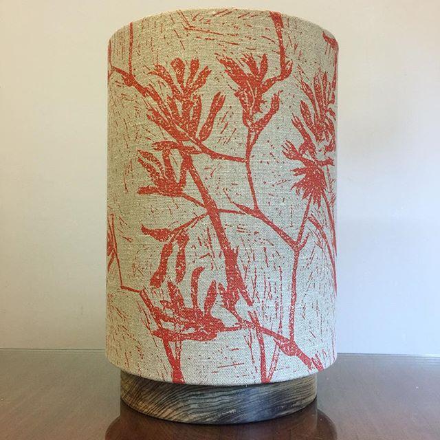 "G&GD 'Big Halo' lamp [shade: 9"" D x 12"" H] in @clothfabric 'Kangaroo Paw redrust on raw' linen. Paired with a raw Tasmanian Blackwood timber base . . #lampshades #lampshade #customlampshades #lighting #decor #homedecor #design #interiordesign #textiles #handmade #australianmade #custom #linen #clothfabric #ascraft #kangaroopaw #woodworking #woodturning #tasmanianblackwood #redfern #grahamandgraham"
