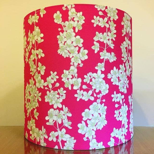 """Custom 17"""" D x 17"""" H lampshade for a customer in @sparkkstudio 'Cherry Blossom' in a custom colourway on the Frida basecloth . . #lampshades #lampshade #customlampshades #lighting #decor #homedecor #design #interiordesign #textiles #handmade #australianmade #custom #sparkk #cherryblossom #frida #redfern #grahamandgraham"""