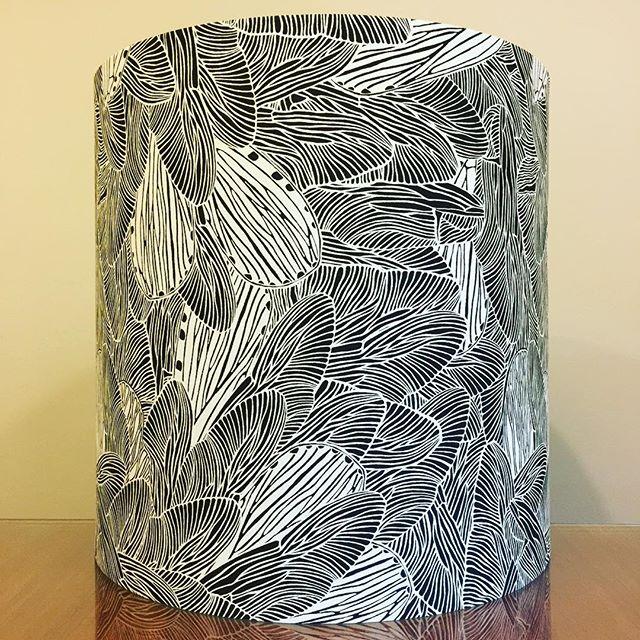 "Custom 16"" D x 16"" H lampshade with customer's very own designed fabric ◾️◽️◾️◽️ . . #lampshades #lampshade #customlampshades #lighting #decor #homedecor #design #interiordesign #textiles #handmade #australianmade #custom #blackandwhiteprint #redfern #grahamandgraham"