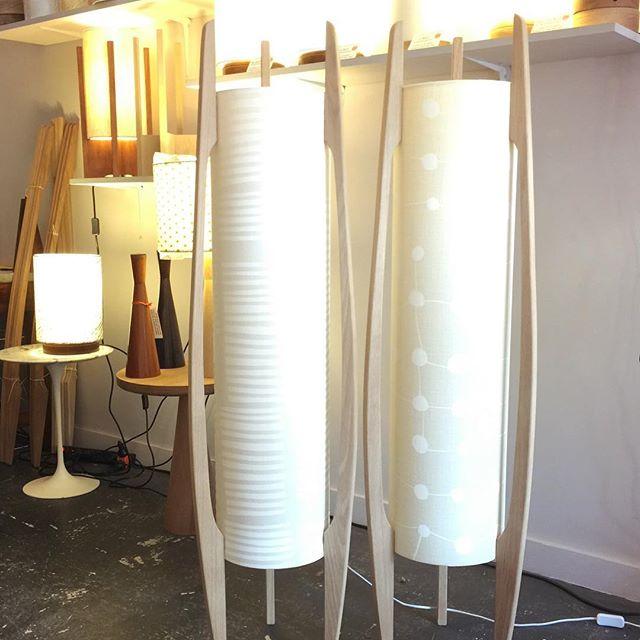 G&GD 'Rocket Floor' lamp's shown with American Oak timber blades and @clothfabric custom shades. ⚪️◻️⚪️◻️ . . #lampshades #lampshade #customlampshades #lighting #decor #homedecor #design #interiordesign #textiles #handmade #australianmade #custom #linen #americanoak #rocketlamp #midcenturymodern #clothfabric #whiteonewhitefabric #whiteinterior #redfern #grahamandgraham