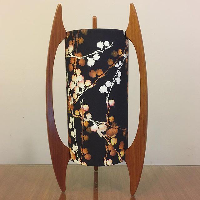 A custom G&GD 'Rocket lamp' for a customer in @rousephillips 'Cherry Blossom V01' fabric and polished Tasmania Blackwood timber blades . . #lampshades #lampshade #customlampshades #lighting #decor #homedecor #design #interiordesign #textiles #handmade #australianmade #custom #cherryblossomfabric #cherryblossom #rousephillips #rocketlamp #woodworking #tasmanianblackwood #midcenturymodern #redfern #grahamandgraham