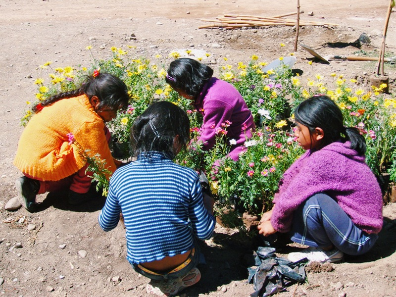 The girls helped to plant flowers, screaming whenever they found a worm.