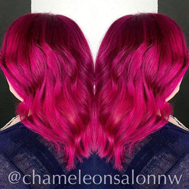 💖We've had fun painting hair pretty shades of pink this week! Magenta waves by Madelyn. Sleek Barbie Pink locks by Nicole. 💖