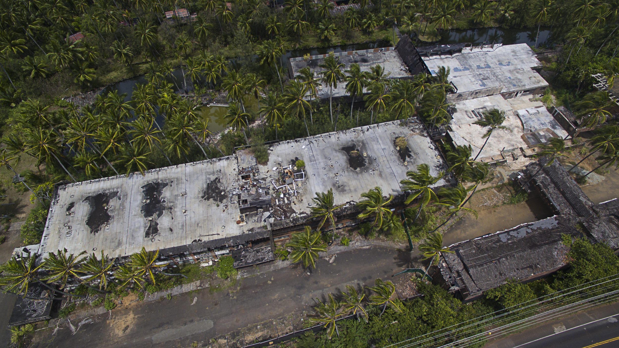Coco Palms Hotel destroyed by Hurricane Iniki in 1992 - Made famous by Elvis Presley in movie Blue Hawaii, Kauai, 2015
