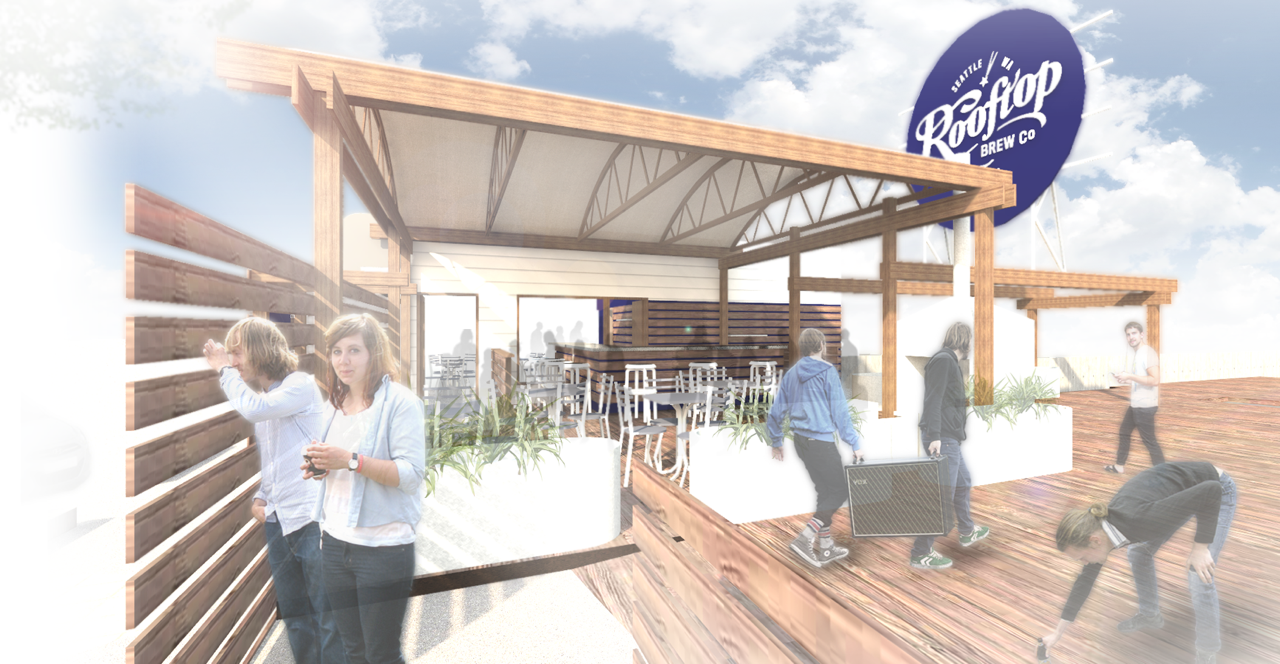 Architect's rendering of the rooftop deck.