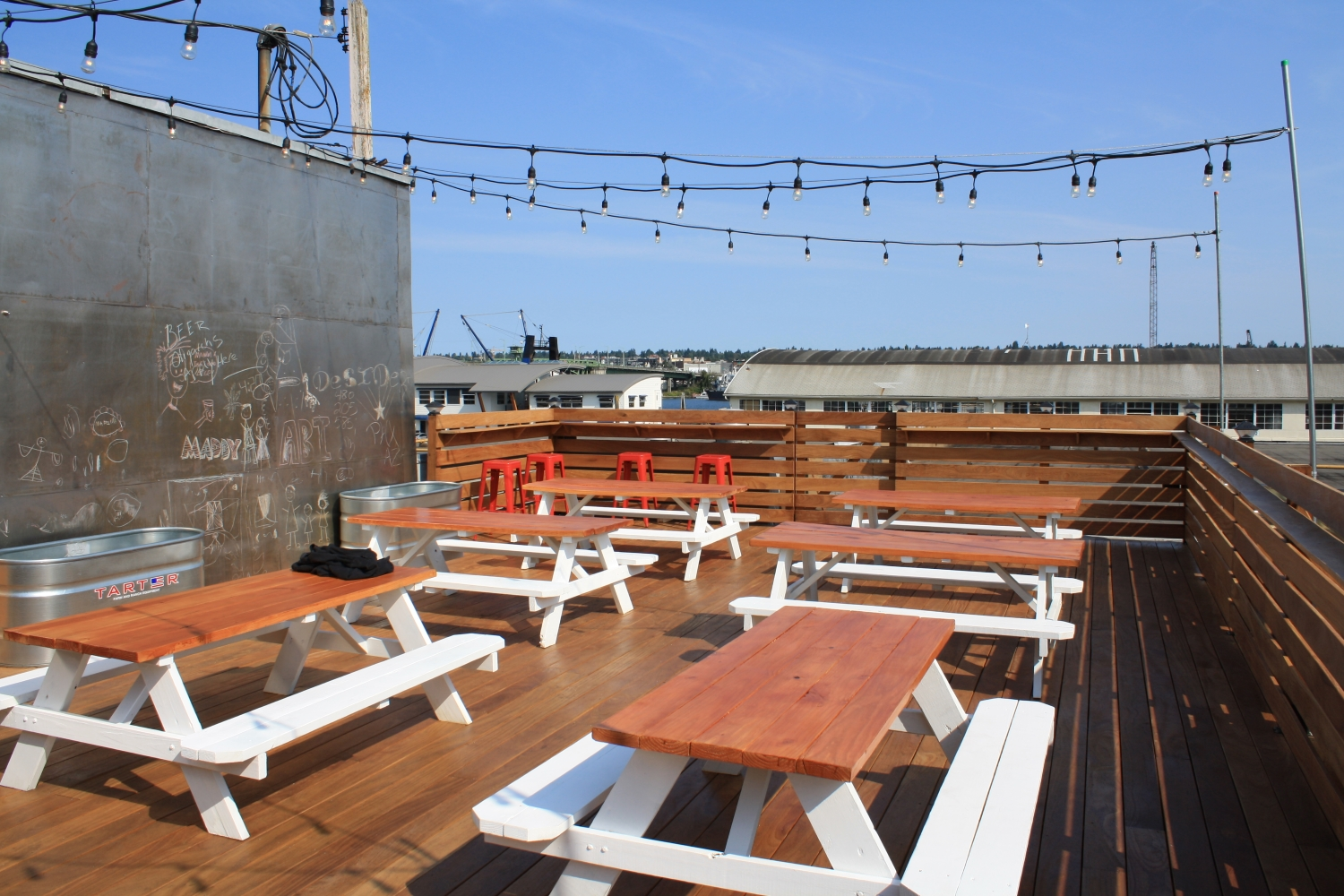 Rooftop's new rooftop deck, facing north across the ship canal, towards Ballard