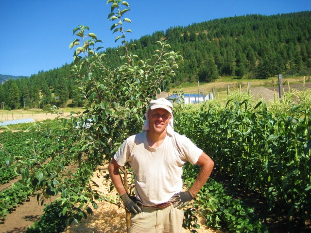 John with two year old apple trees