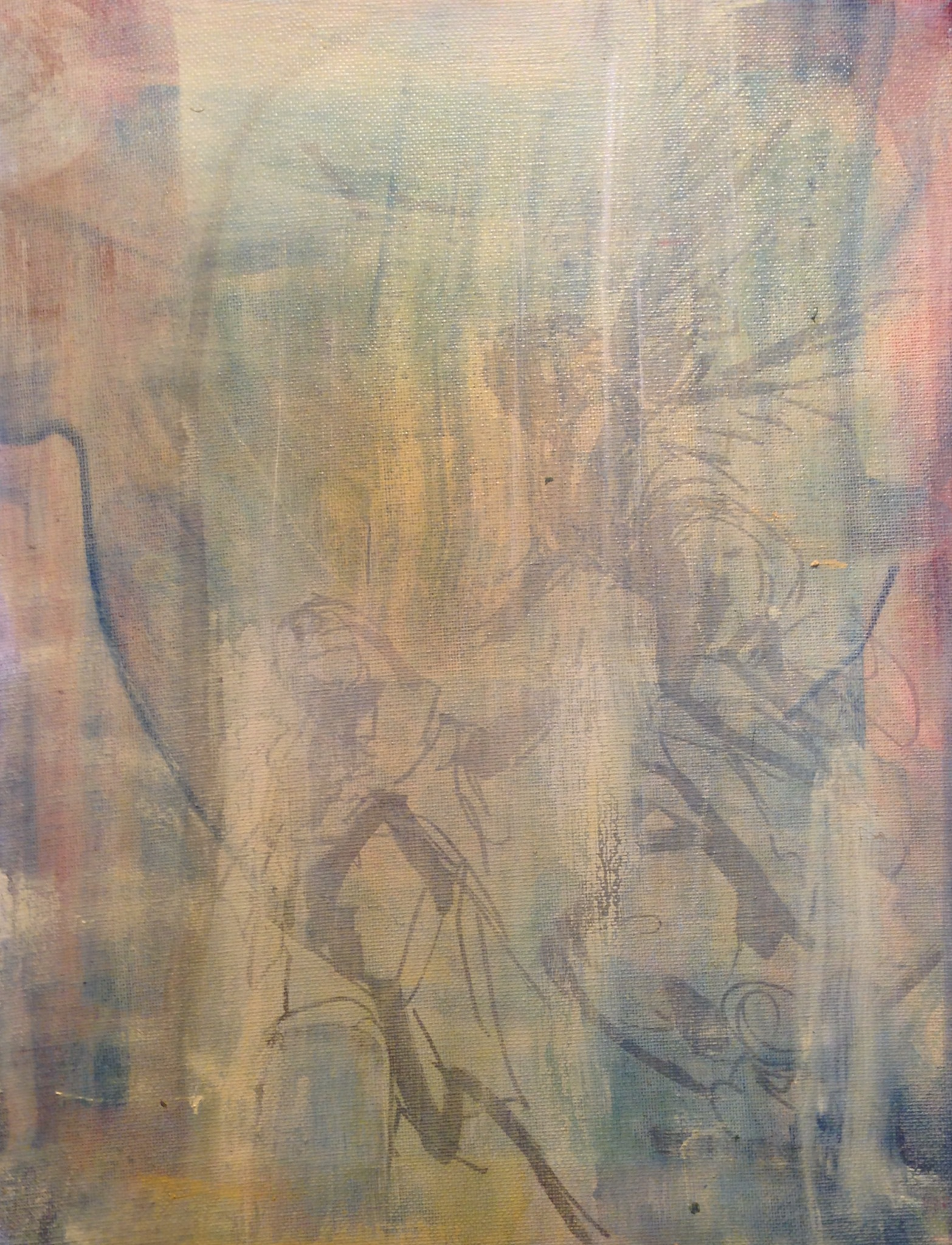"""Annunciation, Acrylic and Oil on Canvas, 2013, 11"""" x 14"""""""