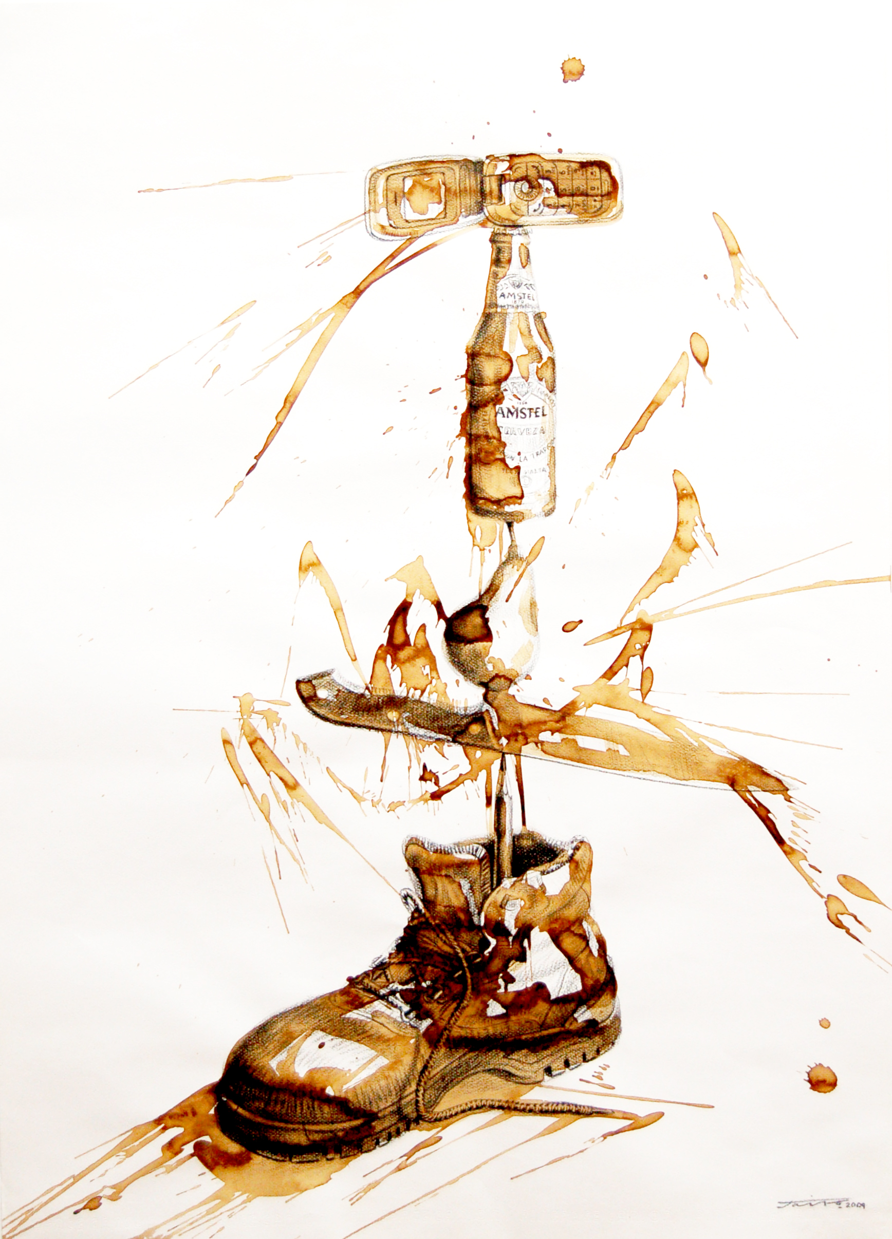 Jairo Alfonso, Untitled, Equilibrium Series, Mixed Media on Paper, 2009, 77cm x 55cm